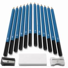 pcs sketch drawing charcoal graphite pencil stick eraser knife