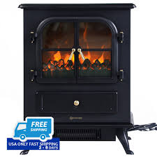 1500w electric free standing fireplace heater with 2 doors