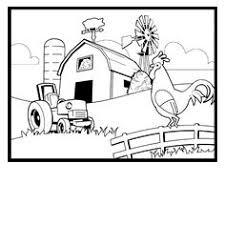 colorear granjero en su tractor rodeado por los animales su