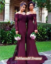 winter bridesmaid dresses modest sleeve shoulder mermaid burgundy bridesmaid