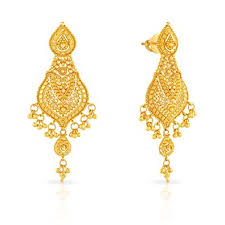 malabar earrings buy malabar gold and diamonds 22k yellow gold drop earrings online