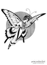 vintage woman fairy butterfly coloring page print color fun
