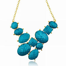 turquoise stone necklace marbled stone fragments statement necklace