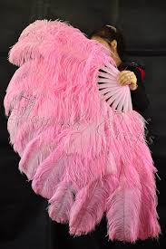 ostrich feather fans pink large layer ostrich feather fan 34 x60 xl burlesque