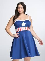 Captain Marvel Halloween Costume Marvel Universe Captain America Skater Dress Torrid
