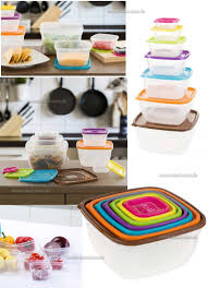 classic cuisine square shape 14 piece colored food storage set