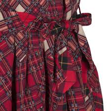 Rachel Riley Girls Red Tartan Print Dress With Pleated Detailing