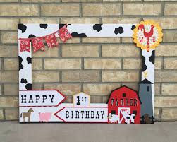 Homemade Photo Booth Farm Birthday Photo Booth Frame Cow Spots Paisley Barn