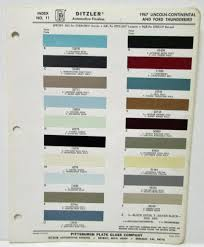 lincoln continental and ford thunderbird color paint chips ditzler ppg
