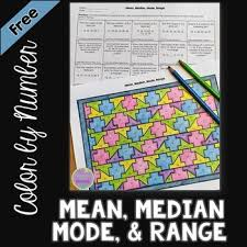 mean median mode u0026 range color by number by middle math