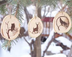 wood burned wolf ornament salvaged birch ornament rustic