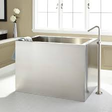48 amery brushed stainless steel soaking tub bathroom
