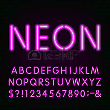 neon light alphabet font type letters numbers and symbols
