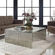 Steel Coffee Table Modern Glass And Metal Coffee Table