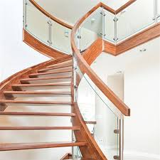 U Stairs Design Indoor Solid Wood Antique Curved Staircase With U Channel Stringer