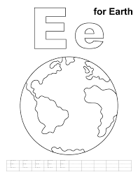 e for earth coloring page with handwriting practice download