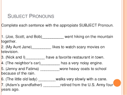 Subject Pronouns Worksheet Subject And Object Pronouns Exercises