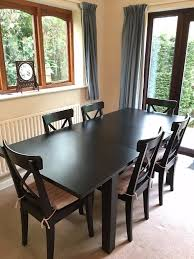 ikea stornas extendable table with 6 ikea ingolf chairs brown