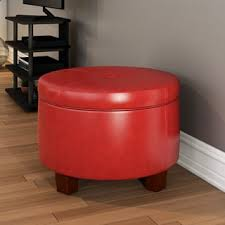 homepop large ivory leather round storage ottoman free shipping