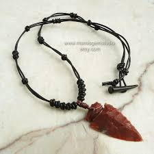 stone leather necklace images Stone pendant leather necklace images jpg