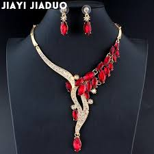 wedding necklace set red images Jiayijia duo wedding jewelry set red crystal necklace earrings jpg