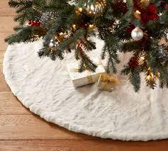 white tree skirt alpaca faux fur tree skirt pottery barn