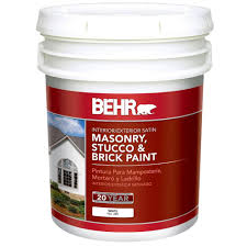 behr 5 gal white satin latex masonry stucco and brick paint