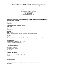 exle of resumes for resumes for highschool students with no work experience exles