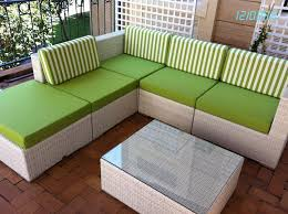 simple patio design with custom patio furniture cushions and lime