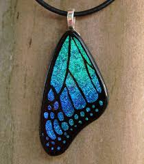 butterfly wing necklace images Teal blue glass butterfly wing by fusedelegance jpg