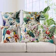 parrot home decor hand printed parrot peacock home decor pillow flamingos linen