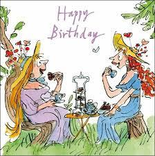 female birthday card quentin blake tea party wdm6002 amazon