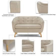 Linen Tufted Sofa by Beige Ikayaa Mid Century Linen Fabric Tufted Loveseat Sofa