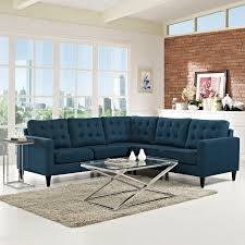 Fabric Sectional Sofa Modway Empress 3 Piece Fabric Sectional Sofa Set In Azure Beyond