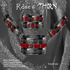 Gothic Wedding Rings by Second Life Marketplace Jezzika D Ebony Rose And Thorn Gothic