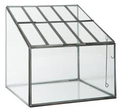 hotbed greenhouse terrarium planter in glass and metal black by ib