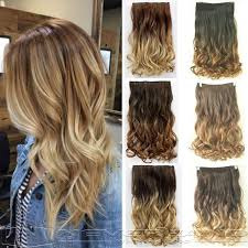 wavy hair extensions 24 60cm curly wavy 3 4 clip in hair extensions ombre