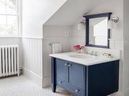 blue gray bathroom decor white washbowl in floating wooden cabinet