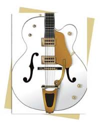 gretsch falcon white guitar greeting card sold in packs of 6