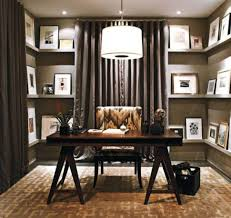 interior classy home office design with dark brown curtain and