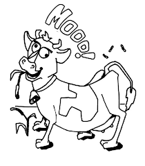 crazy cow coloring page netart