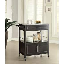 kitchen island cart granite top linon home decor cameron black kitchen cart with storage
