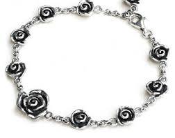 rose link bracelet images Silver rose bracelet etsy jpg