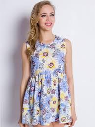 clubwear outlet light blue daisy print mini skater dress free