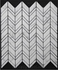 customized white black marble mosaic flooring tiles