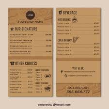 ai coffee shop menu template vector free download pikoff