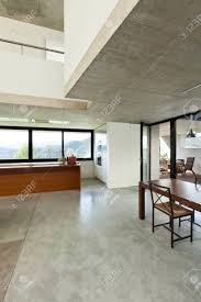 open space house beautiful modern house in cement interior open space stock photo