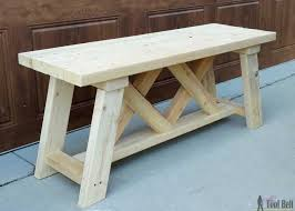 How To Build A Shooting Bench Out Of Wood Double X Bench Plans Her Tool Belt