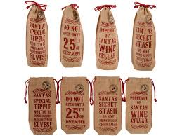 Christmas Wine Christmas Wine Bottle Bag Jute Hessian Bronte Rose