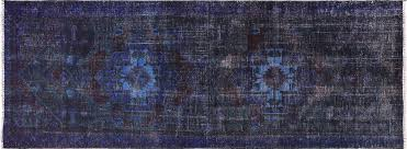 Blue Runner Rug 4 U0027x9 U0027 Oriental Floral Blue Overdyed Hand Knotted Wool Runner Rug H9449